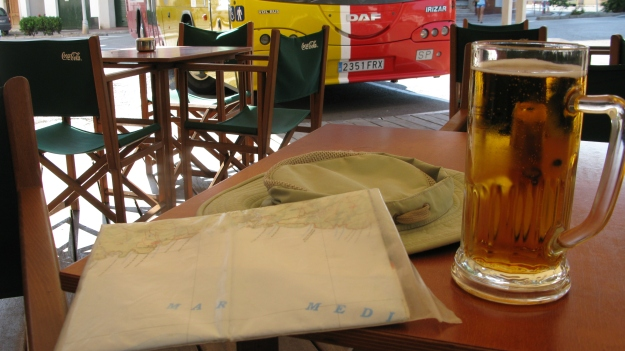 A welcome cerveza in a cool cafe prior to catching by bus back after a days hiking. The simple pleasures...