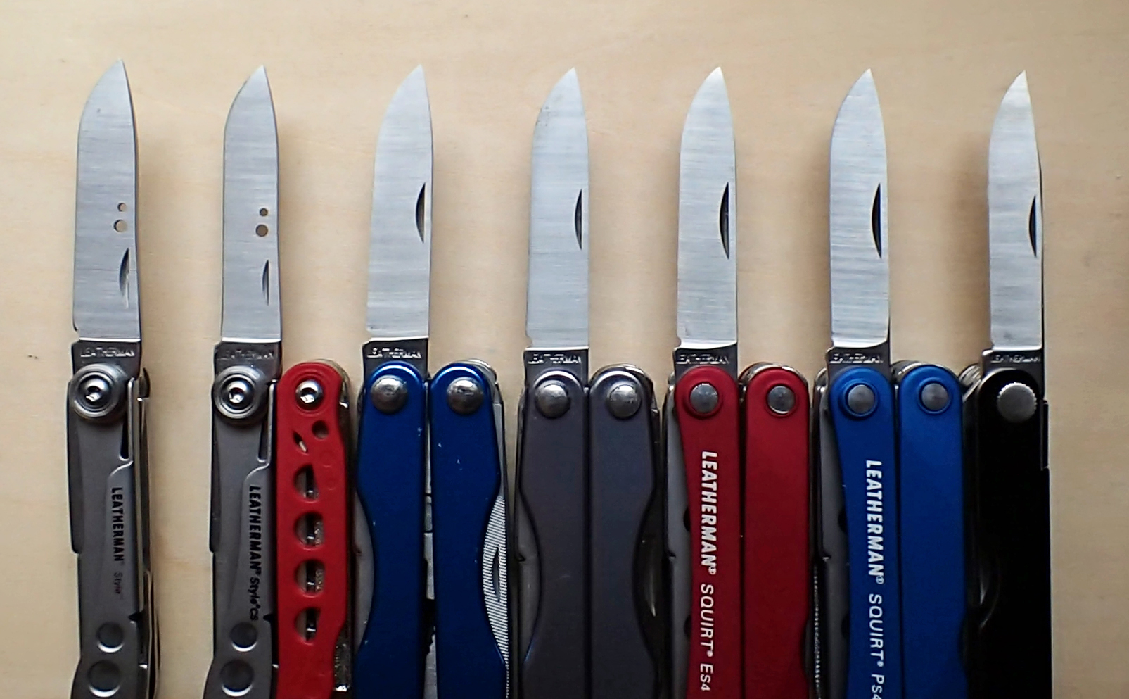 Small Leatherman blades compared. From left to right: Style, Style CS, Squirt P4, Squirt S4, Squirt ES4, Squirt PS4, Micra