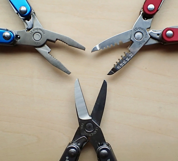 There are three choices of jaw in the small Leatherman keychain multi-tools. These are scissors, pliers and the less useful electricians pliers