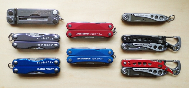 Eight Leatherman keychain multi-tools. Some of these make a great choice for hiking