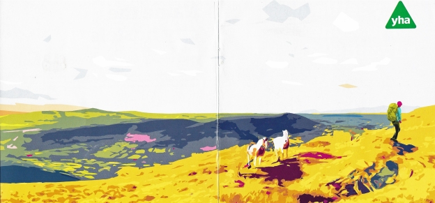 Front and rear cover image from The Journey, journal of the YHA. Autumn 2019 issue. 'Wild horses, Brecon Beacons National Park'