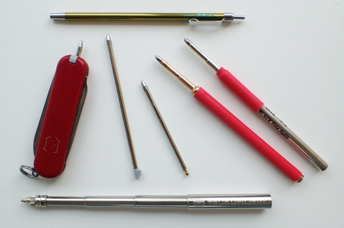A range of lightweight pen options for backpacking