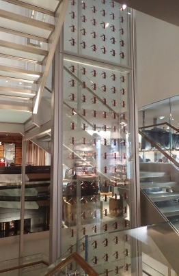The iconic red handled Swiss Army Knife makes a suitable display the height of three floors