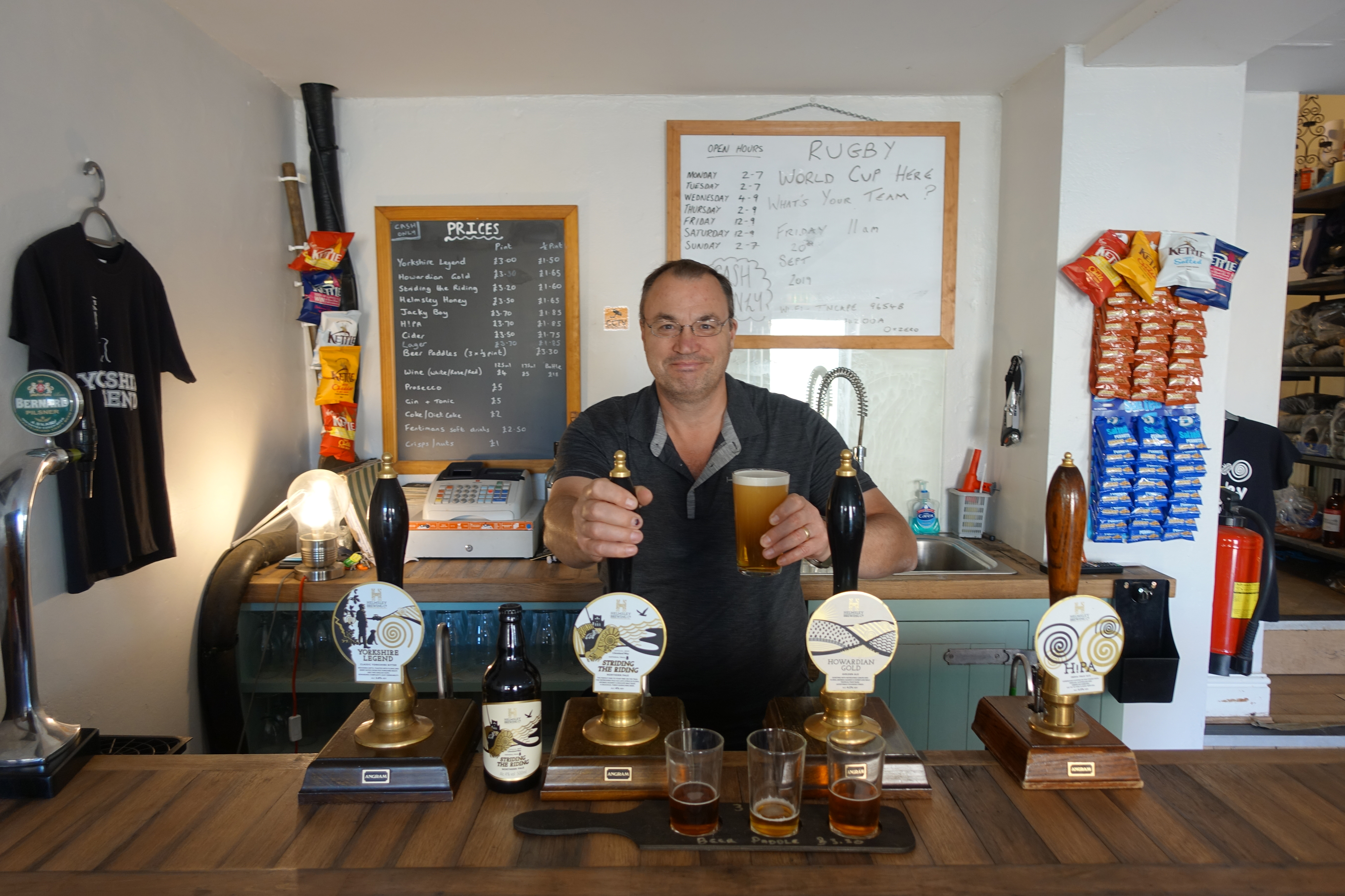 pulling my pint of the excellent 4% 'Striding the Ridge' ale at the Helmsley Brewing Company, closely followed by pints of their best-selling 4.2% Howardian Gold and 5.5% H!PA IP