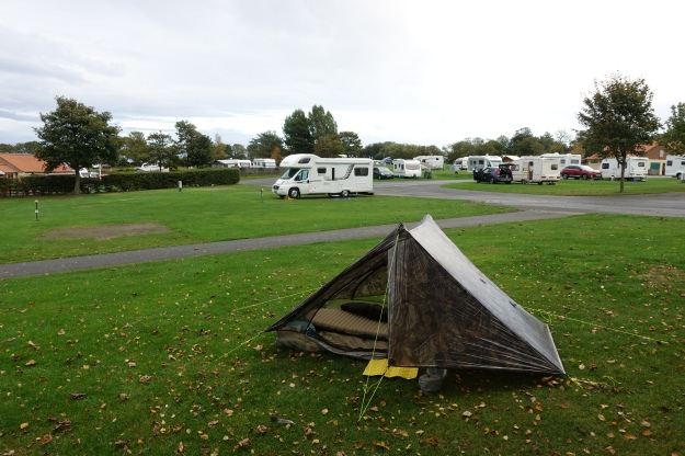 Three Points of the Compass pitched at the Scalby Mills Camping and Caravanning site prior his Tabular Hills walk