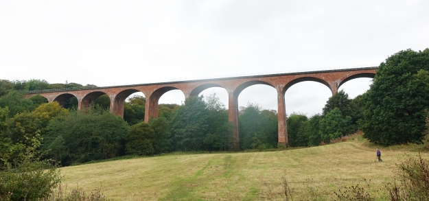 Impressive 19th century Saltburn Viaduct is walked under on the approach to Saltburn-by-the-Sea