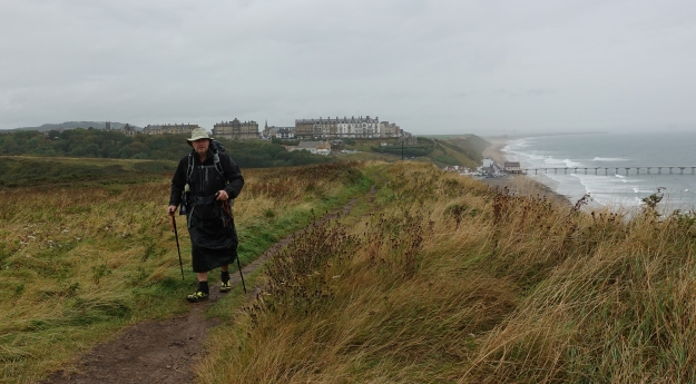 Now garbed in hard shell and rain skirt, I climbed the cliffs and left Saltburn-by-the-Sea behind me