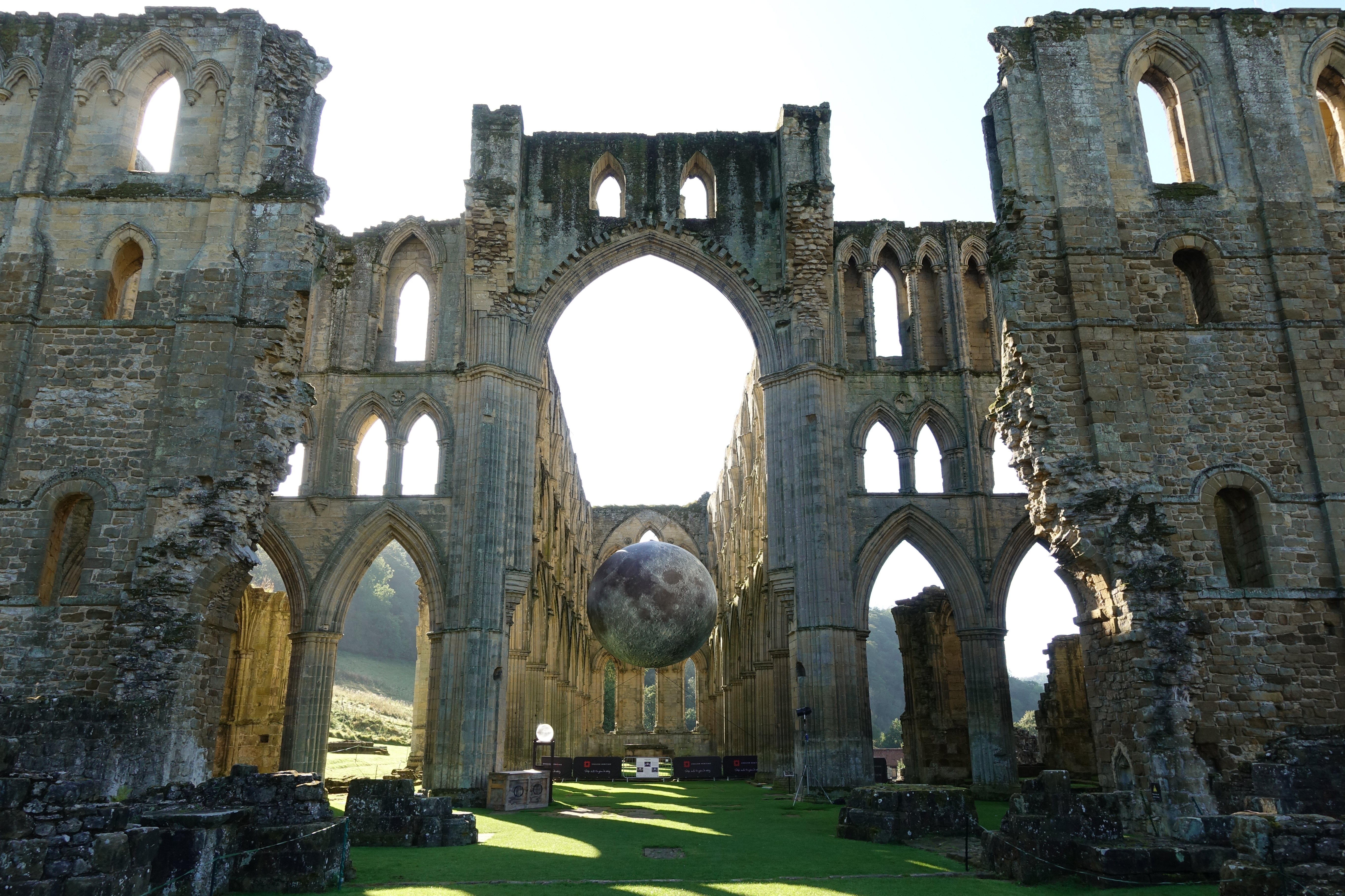 Museum of the moon installed within the ruins of Rievaulx Abbey