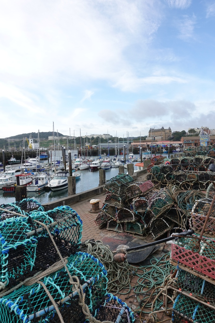 Busy fishing harbour at Scarborough