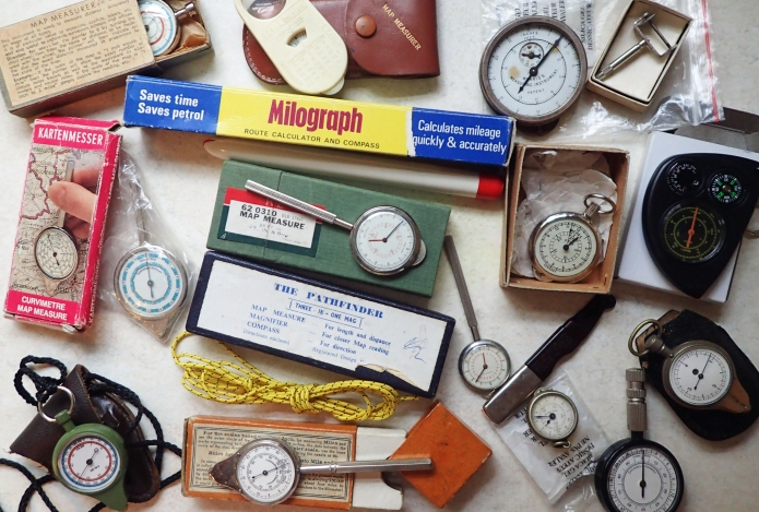 Assortment of map measurers from Three Points of the Compasses collection. Some cheap and nasty, some peculiar, one or two beautiful and uncommon