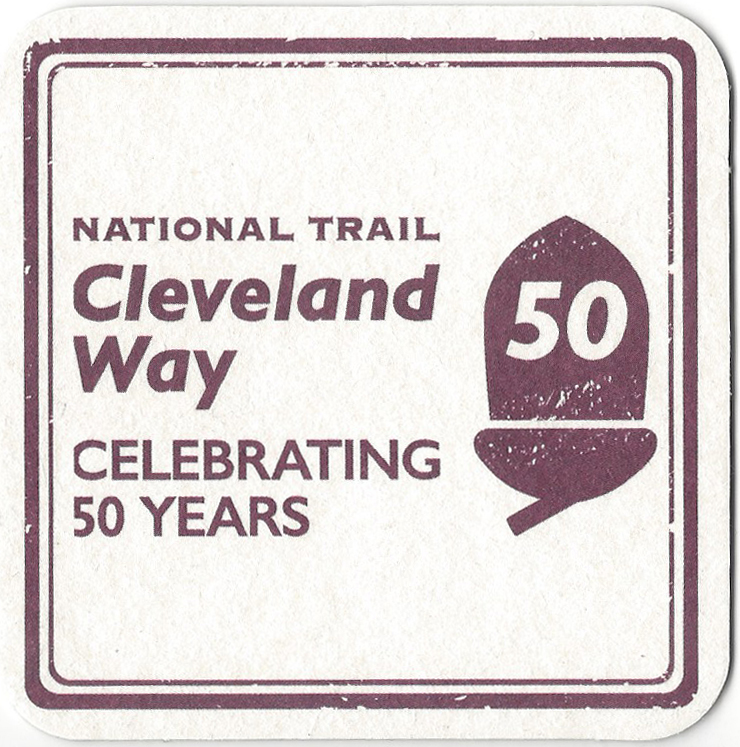 Beermat from the Helmsley Brewing Co. celebrates the fiftieth birthday of the Cleveland Way in 2019