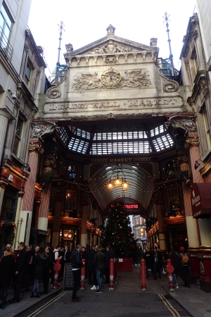 Well known to Harry Potter fans, we passed through Leadenhall Market. This ornate building dates from 1881 though a market has been trading here since the 14th century