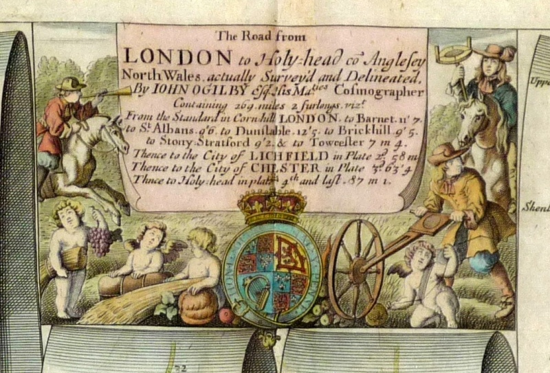 Surveyor and his waywiser are shown on plate number 21- the Road from London to Holyhead. c1698