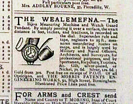 Newspaper advertisement for Morris's 'Wealemefna', a 'new design of map measurer'