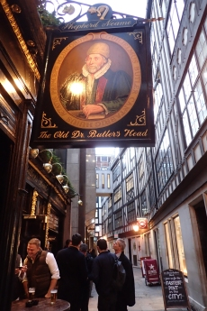 The Old Dr. Butler's Head dates from 1610. Victorian workers knew it as the Old English Divan, the Edwardians called it the German Restaurant