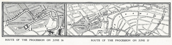 King Edward VII's processional routes through London was published in various newspapers. The Sphere, 28 June, 1902