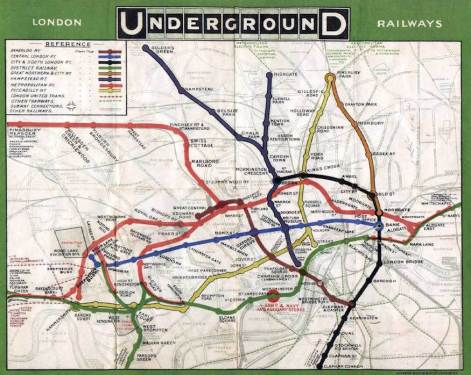 The first map of the London Underground showed the lines, few that they were at the time, overlain on a street plan. However the map was not particularly helpful to those travelling above ground, not those underground. 1908