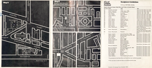Map produced showing the sculpture exhibition to be seen in the City of London 8-20 July 1968