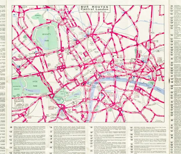 Free bus map by London Transport. Detail from rear showing central London routes and minimal street detail. Cartographer was D. Penrose, April 1976