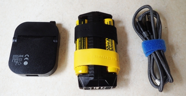 Nitecore F2, with plug and charge lead