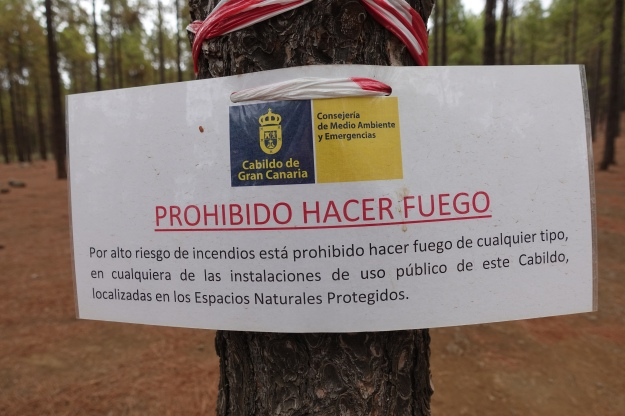 Due to recent and extensive fires, all fires were banned in all campsites on Gran Canaria