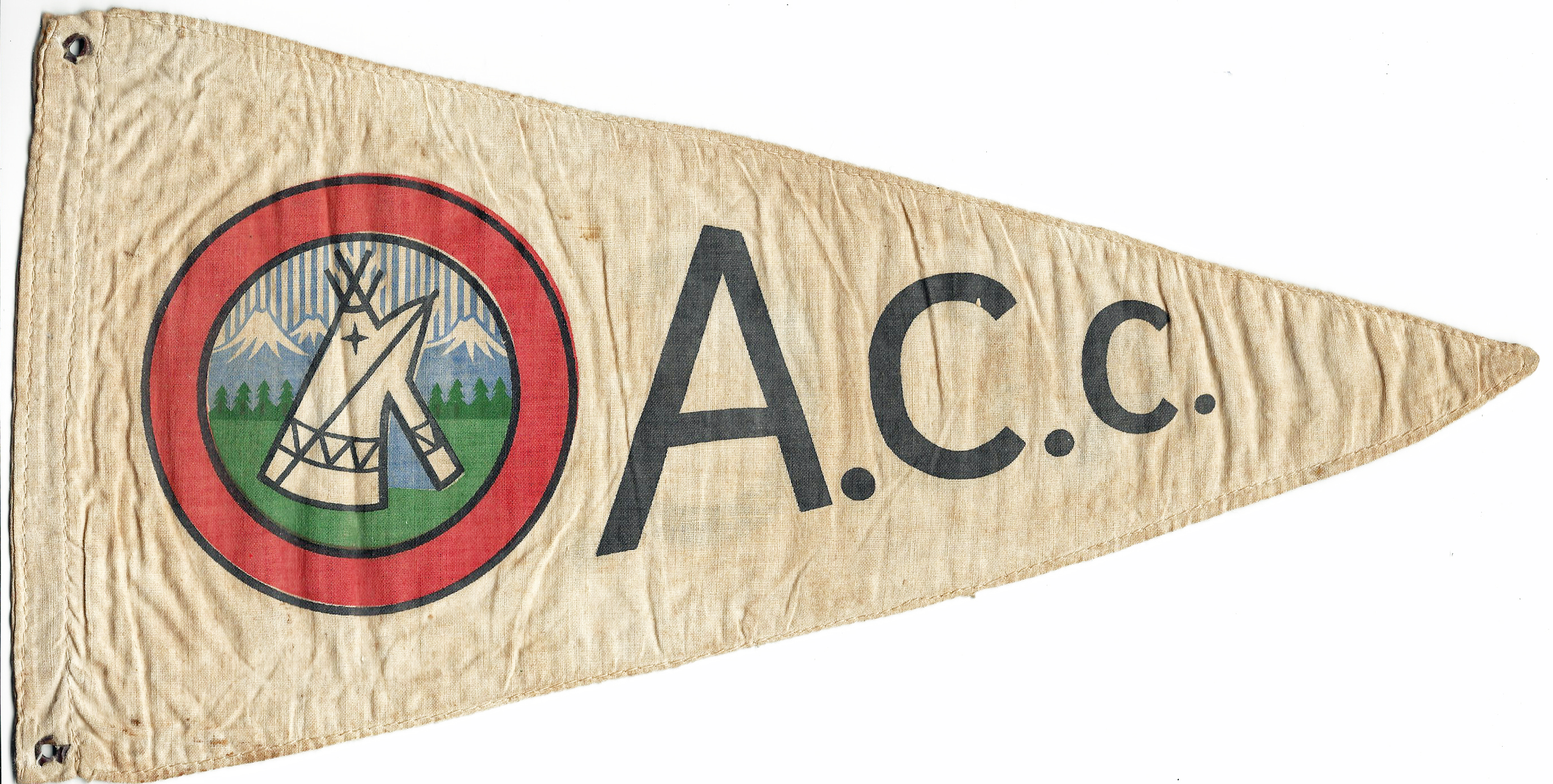 A rare survivor, A.C.C. flag that once fluttered gaily from the apex of a club members tent