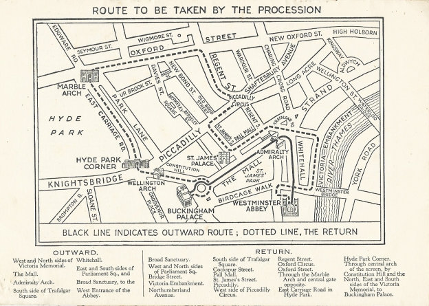 Map of the 1937 Coronation route included in free booklet produced by the Barclays Bank Ltd. & Associated Companies