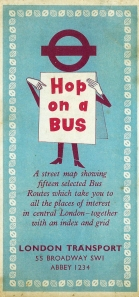 Small pocket map with Hop on a Bus character that first appeared on posters in 1958. Published by London Transport in 1959