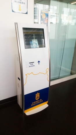 Ticket machine at entrance to municipal building in Las Palmas