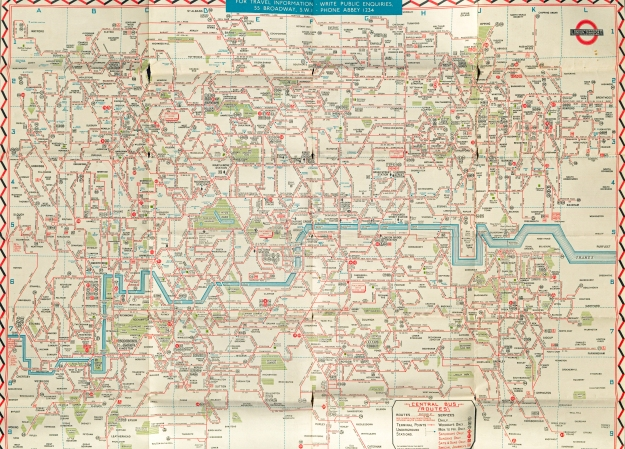 Bus map drawn by J.H. Elston and printed by Waterlow & Sons. More like a wiring diagram than a street map, it would take the most determined of map reading bus goers to navigate London successfully with it. 1946