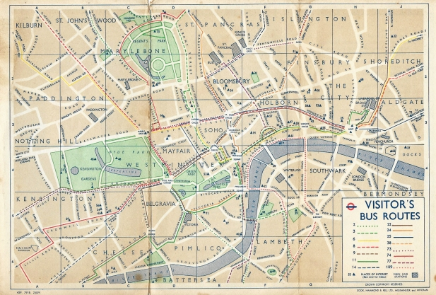 Small free street map showing fifteen bus routes taking passengers to places of interest in central London, with sufficient information to walk between them. Published by London Transport, 1959