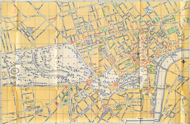 Map of Central London issued free to members of the Automobile Association, 1935
