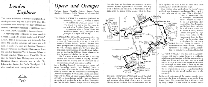 Part of the detail within the free walk leaflet 'Opera and Oranges'. Produced by London Transport, these leaflets were aimed at people living within a thirty mile radius of London and was intended to increase use of transport during quieter times of the day. Printed March 1965