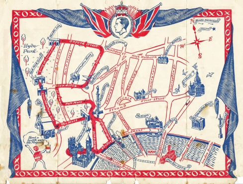 Published by Oxo Ltd. This complementary map ilustrated the coronation route of EviiiR. Visitors to London could use it to walk to view the procession. However Edward abdicated prior to his coronation, measures 251mm x 189mm. 1936