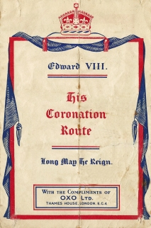 Free map released by the OXO companay showing how visitors to London could view the coronation procession of EviiiR. Sadly, an event that did not occur, 1936