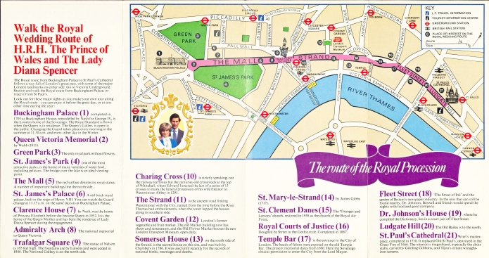 Very simple in design, there was enough information on the 1981 map to enable the curious to walk the route from Buckingham Palace to St. Paul's Cathedral
