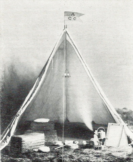 Suggested layout for an A frame tent as specified by the Amateur Camping Club in 1910