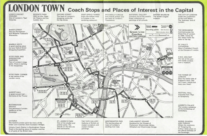 Small map on 1974 Green Line leaflet shows little more than a minimum of streets in central London