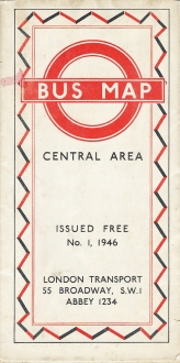 Bus map to the central London area. Published by London Transport and issued free. 1946