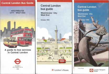 Selection of 1990s bus maps. Ruthlessly efficient and effective for the bus traveller, less so for those walking