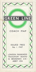 Free Green Line coach map issued the London Passenger Transport Board, 1947