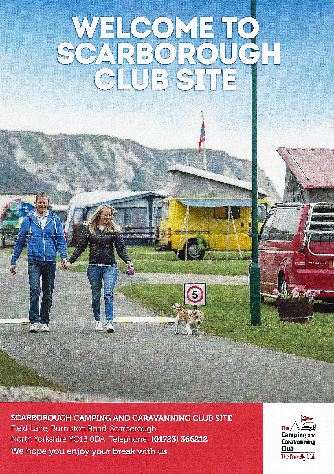 Arrivals leaflet, Scarborough Camping and Caravanning site, 2019