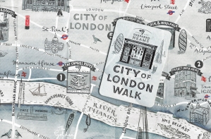 In March 2019 Kent brewers released a free map depicting a trail through London that visited eight of their pubs en route. Drawn by Peter Gander, it is an attractive product but not that suited to following on the ground. Three Points of the Compass walked the route in November 2019