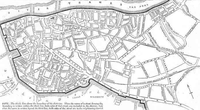 Map showing the streets within the South Eastern Postal District. From 'Post Office Principle Streets and Places. London and its environs as divided into Postal Districts with maps'. Printed by George E. Eyre and William Sottiswoode in April 1857, the public could view this publication in Head Post Offices