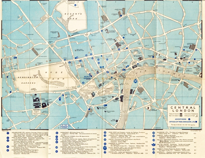 Small map of central London produced by Geographia Ltd and supplied free of charge to customers of travel agent Thomas Cook. 1954