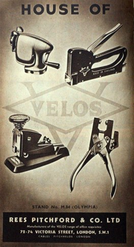 British Industries Fair advertisement for manufacturers of 'Velos' Products, 1947