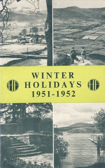 HF winter holidays brochure for 1951/52. Cover shows Windermere in winter, Kinder Scout above Edale, the gardens at the Glasbury Centre, and Derwentwater