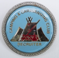 Quality metal and acrylic badge for Camping & Caravanning Club Recruiter, post-1983