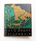 Enamel badge of the Out O'Doors Fellowship, one of many rambling clubs in the Peak District in the 1930s. Fattorini and Sons. A company that made a wide range of badges, regalia and trophies, including the FA Cup and Rugby League Challenge Cup