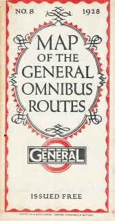 Map of the General Omnibus Routes provided free to the public by the London General Omnibus Co. Ltd. 1928